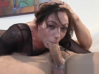 Babe in fishnet catsuit and thigh high boots gets fucked tattoo straight films