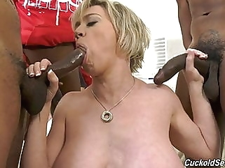 Hubby catches wife with three big black cocks cuckold milf films