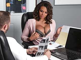 Halle Hayes & Scott Nails in Working Late - BRAZZERS ebony big tits films