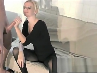 Sensual blonde with big tits Vanessa Vixon displays her handjob skills blonde big tits films