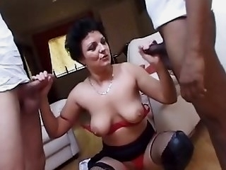 Hot Horny British Milf Fucks Two Young Cocks ! milfs facials films