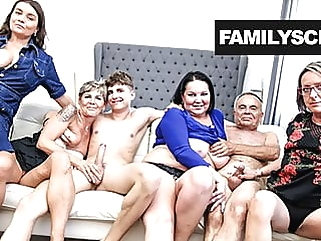 Fucked up Grandpa and Grandson Sunday Orgy group sex blowjob films